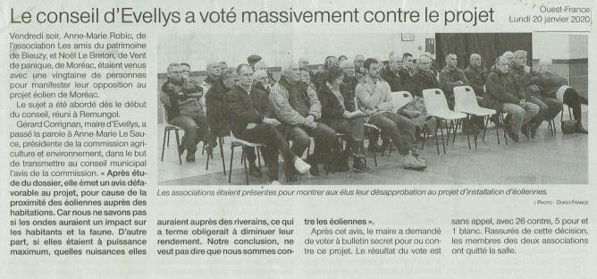 Evellys vote massive contre le projet of 20 01 2020